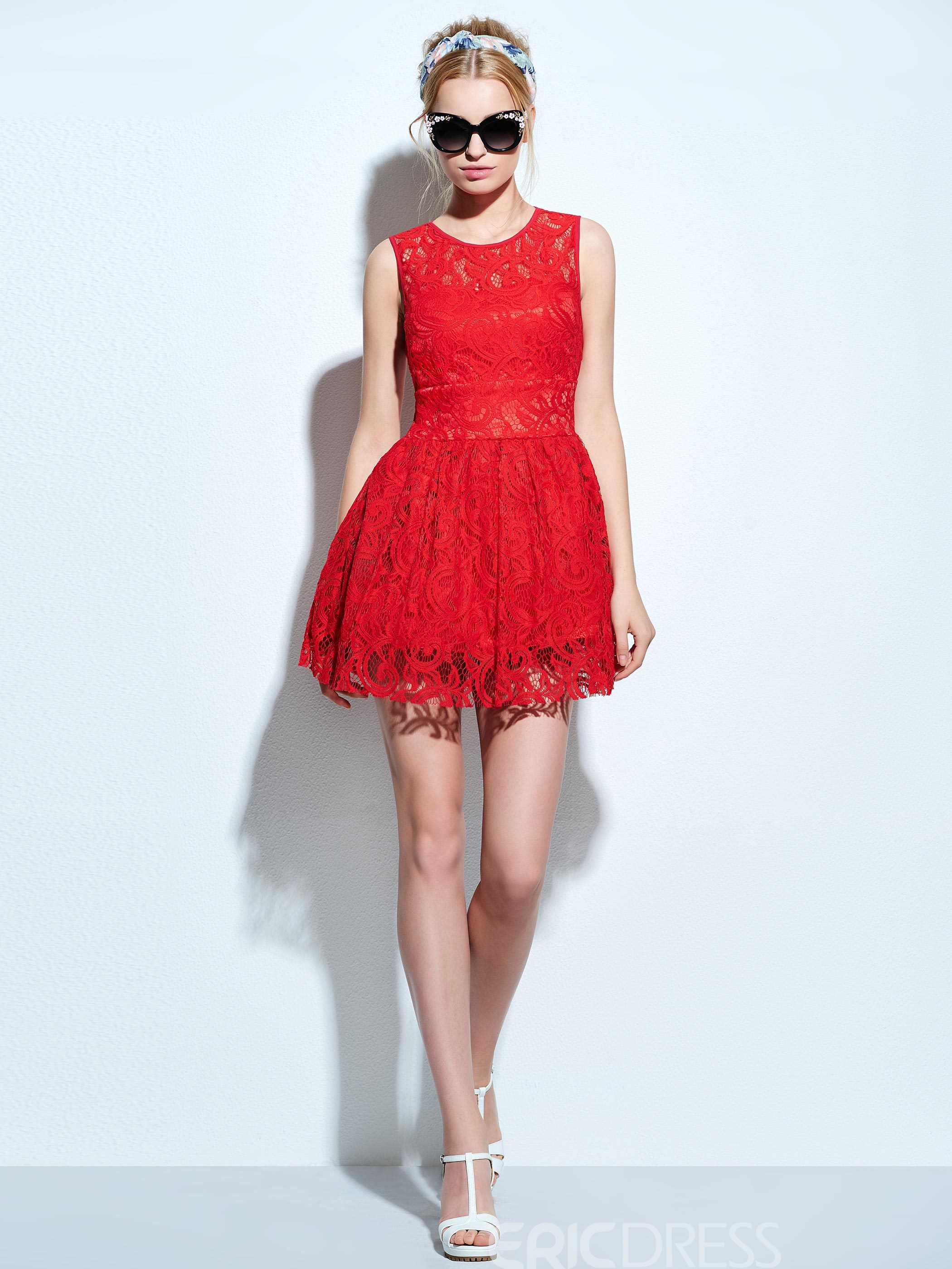 Ericdress Mini Solid Color Sleeveless Lace Dress