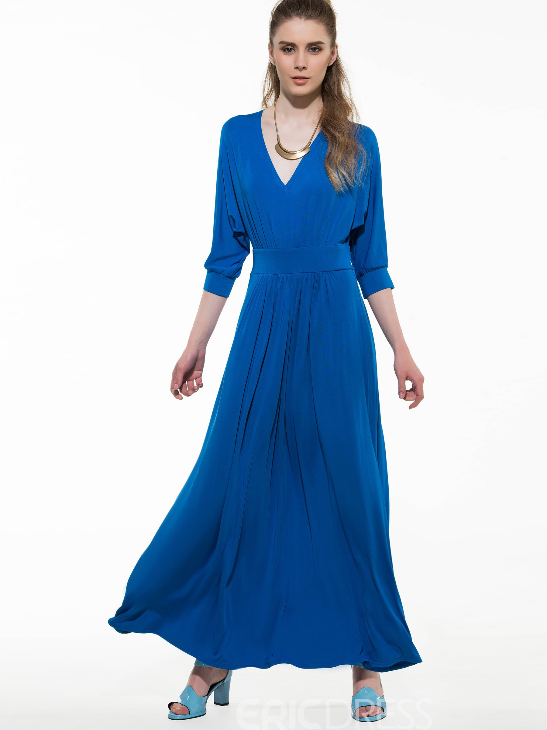 Ericdress Soild Color Bat Sleeve Maxi Dress