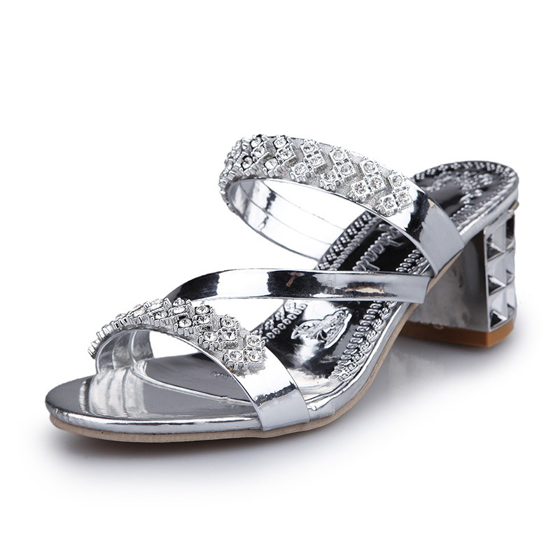 Ericdress Shining Rhinestone Open Toe Chunky Mules Shoes