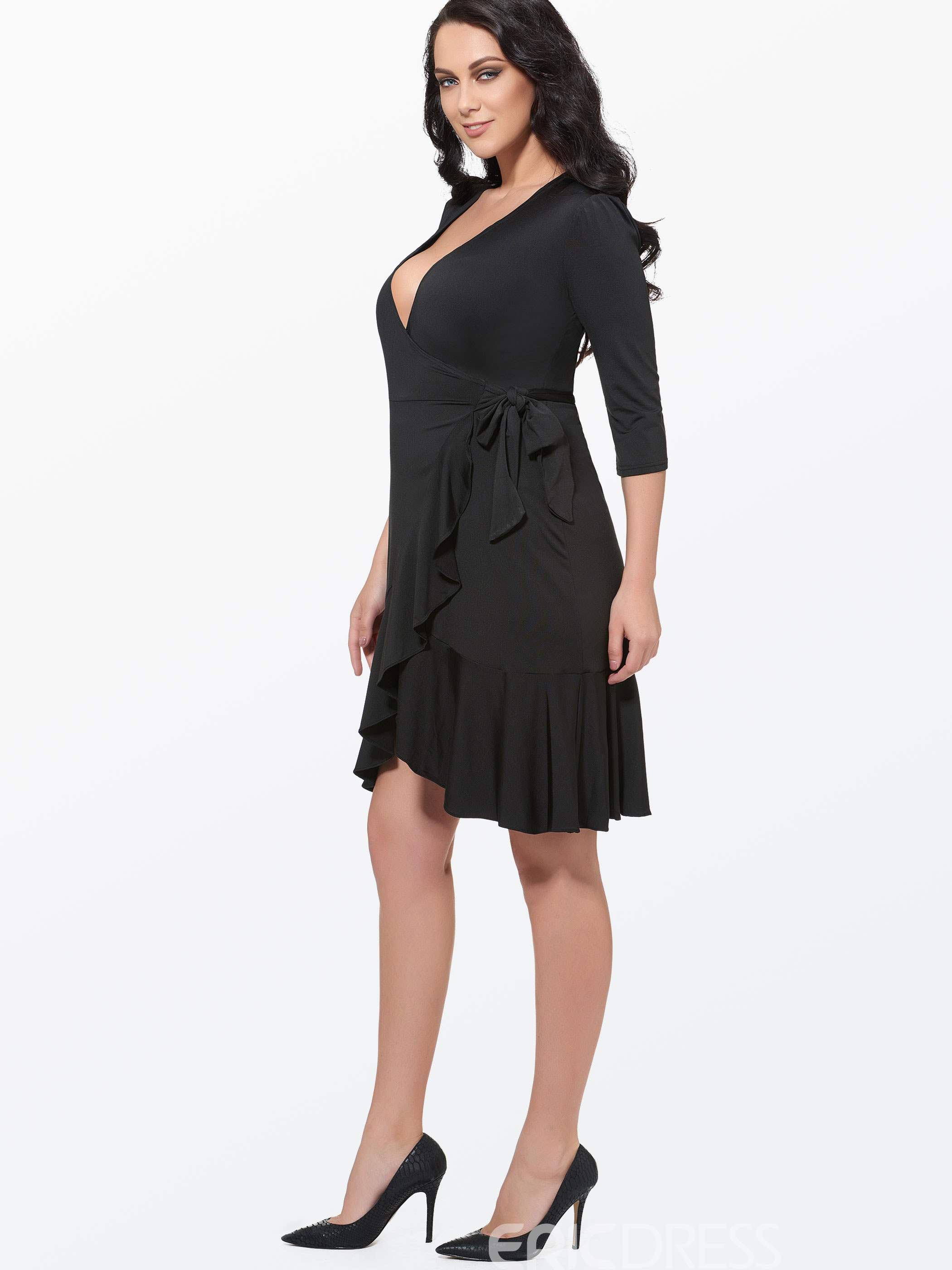 Ericdress Plus Size Ruffle Dress Casual