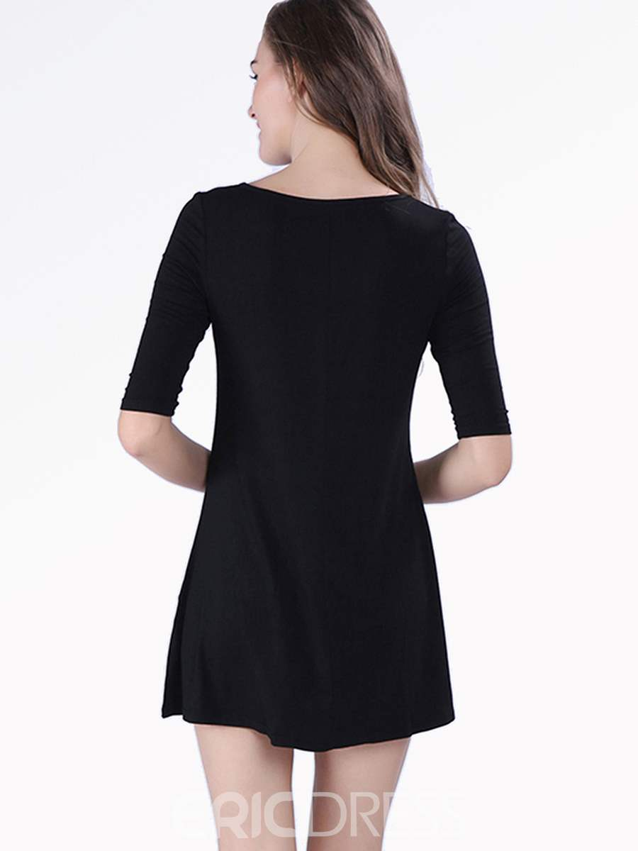Ericdress Plain Three-Quarter Sleeve Dress