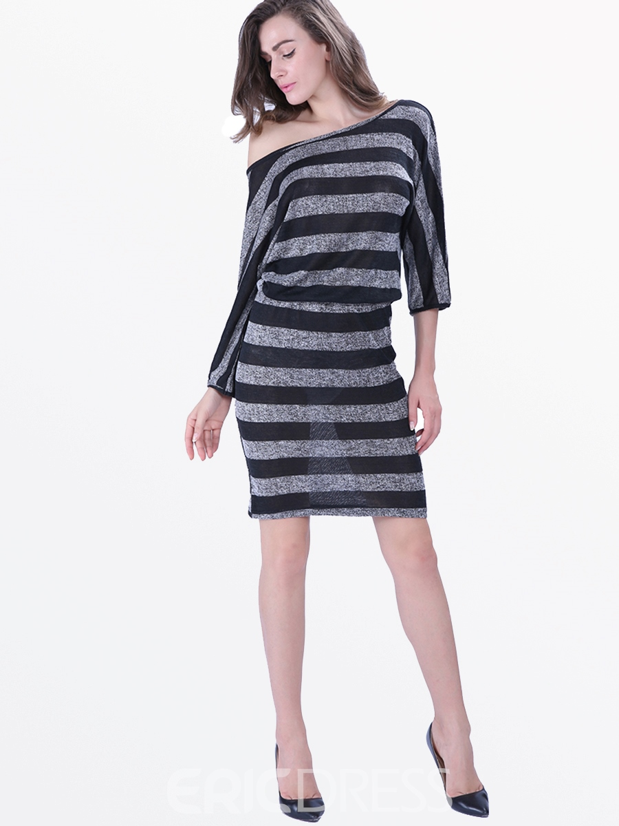 Ericdress Platinum Plated Strip Bodycon Dress