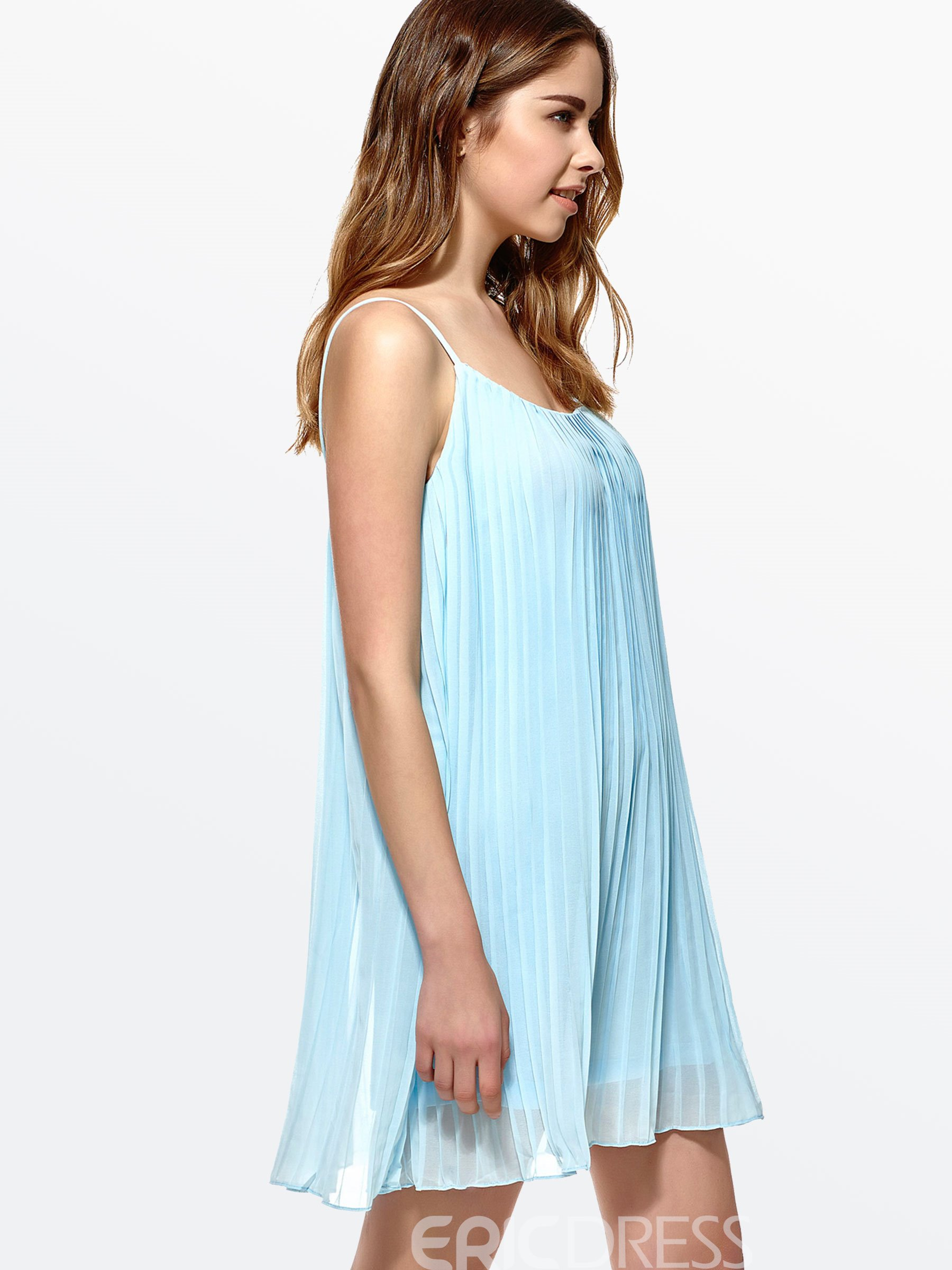 Ericdress Spaghetti Strap Pleated Loose Casual Dress