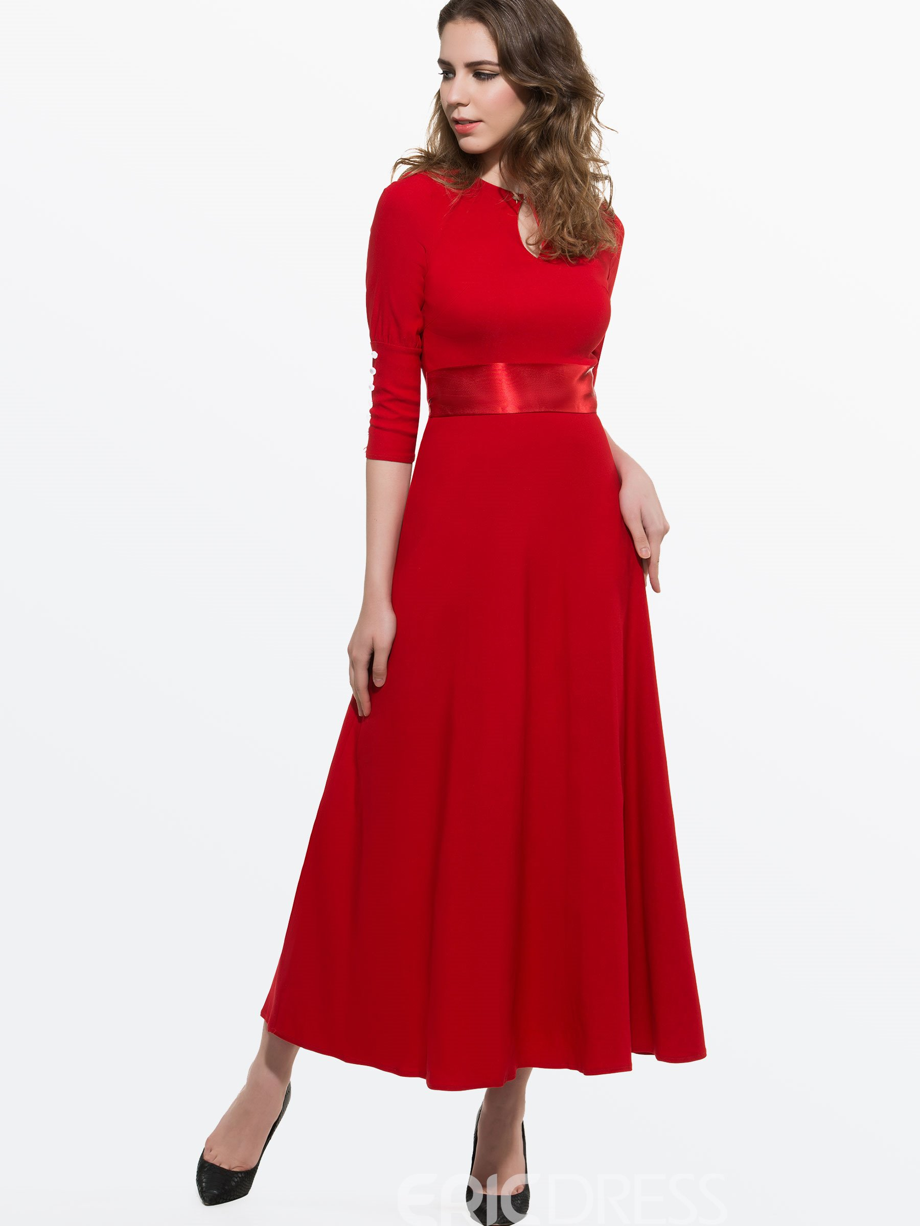 Ericdress Elegant Solid Color Maxi Dress