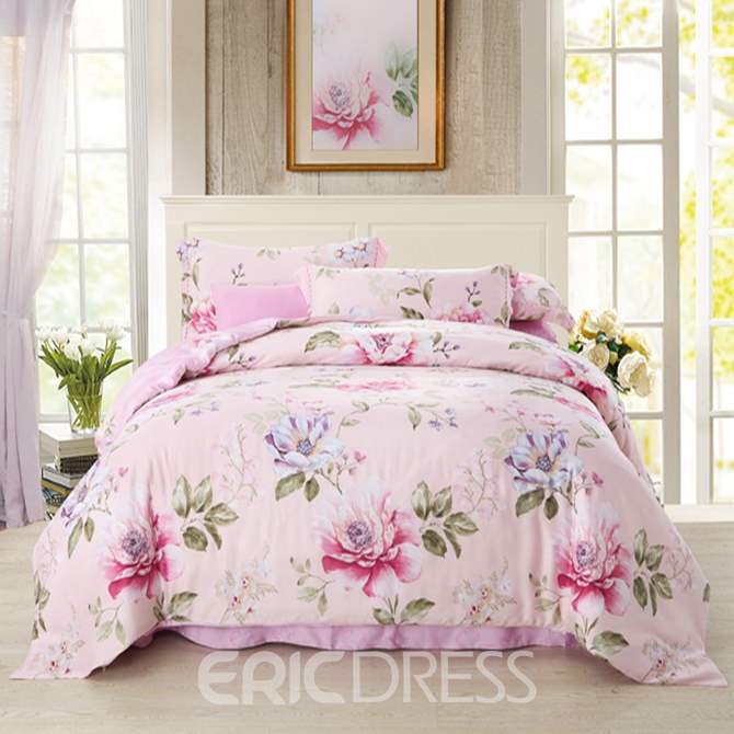 Vivilinen Wonderful Pink Peony Print 4-Piece Tencel Duvet Cover Sets