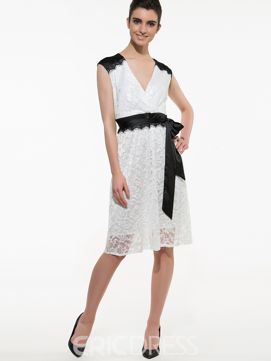 Ericdress Color Block V-Neck Belt Lace Dress