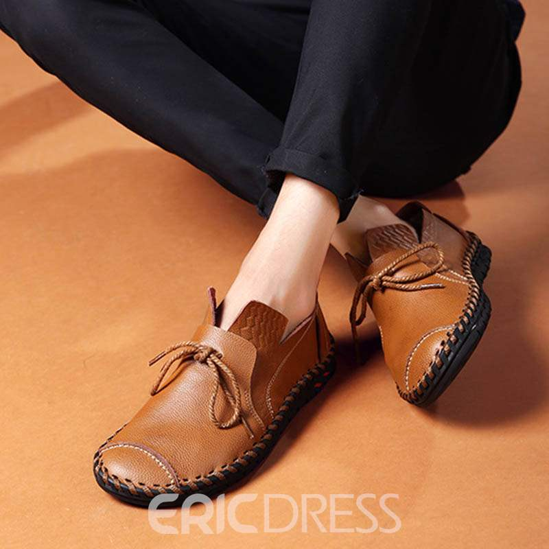 Ericdress Cozy Low-Cut Round Toe Lace-Up Men's Oxfords