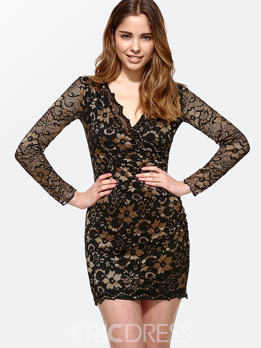 Ericdress V-Neck Long Sleeve Lace Bodycon Dress