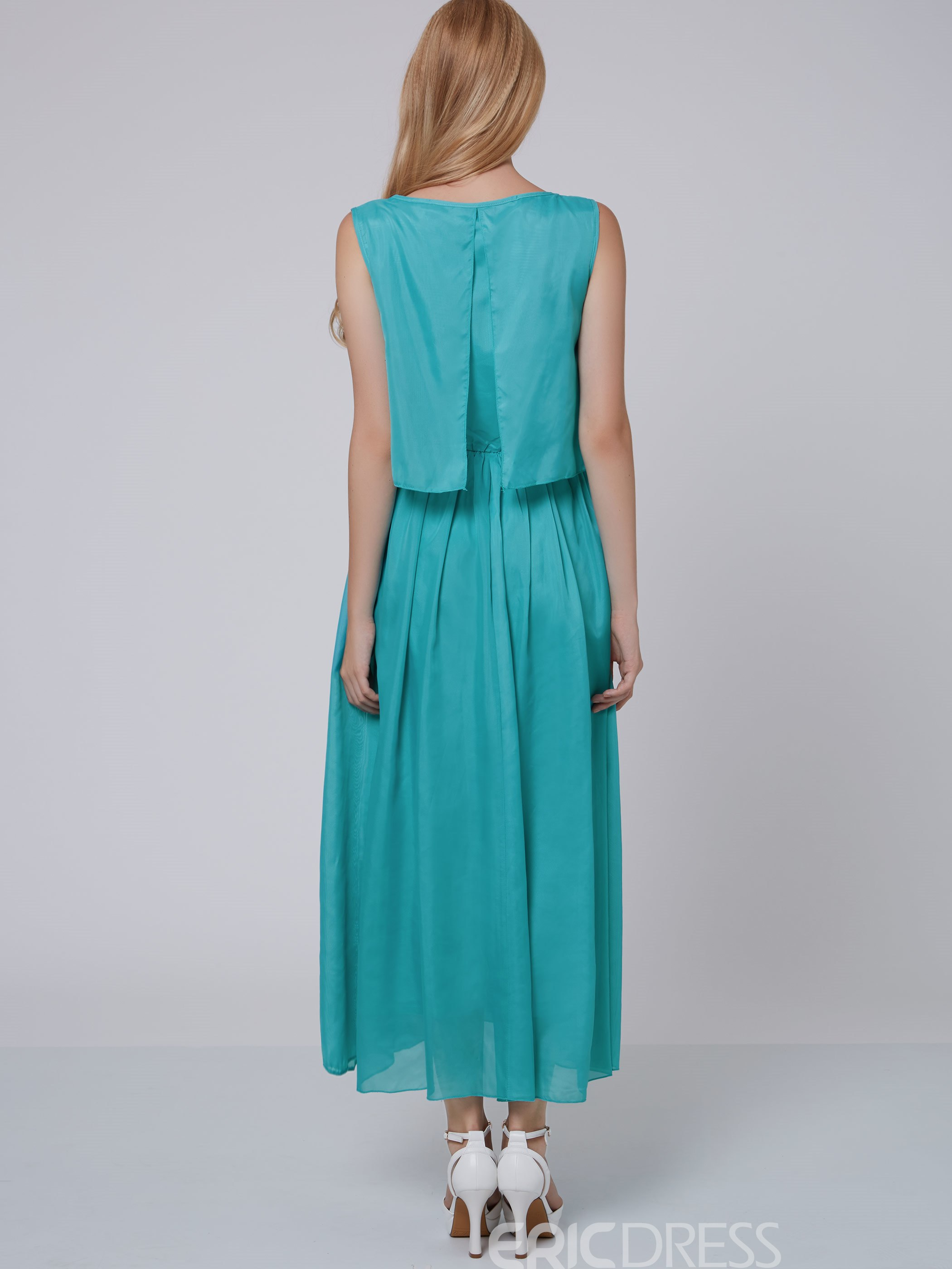 Ericdress Summer Pure Color Chiffon Maxi Dress