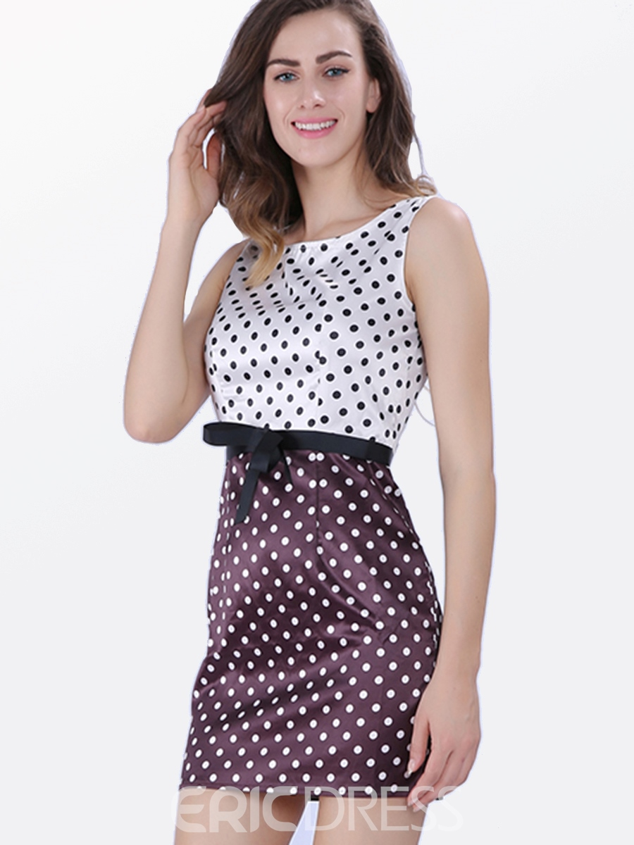 Ericdress Polka Dots Pullover Bowknot Women's Casual Dress