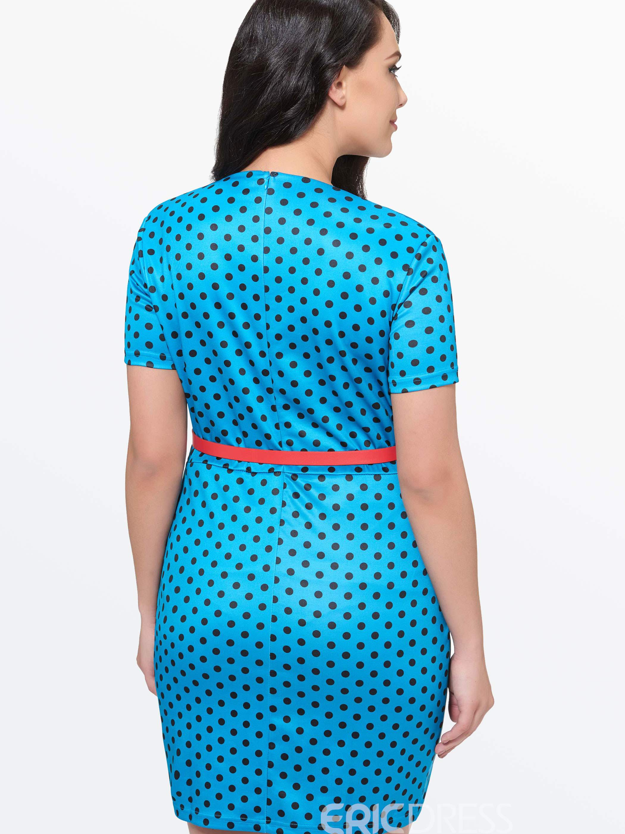Ericdress U-Neck Polka Dot Belt Plus Size Bodycon Dress