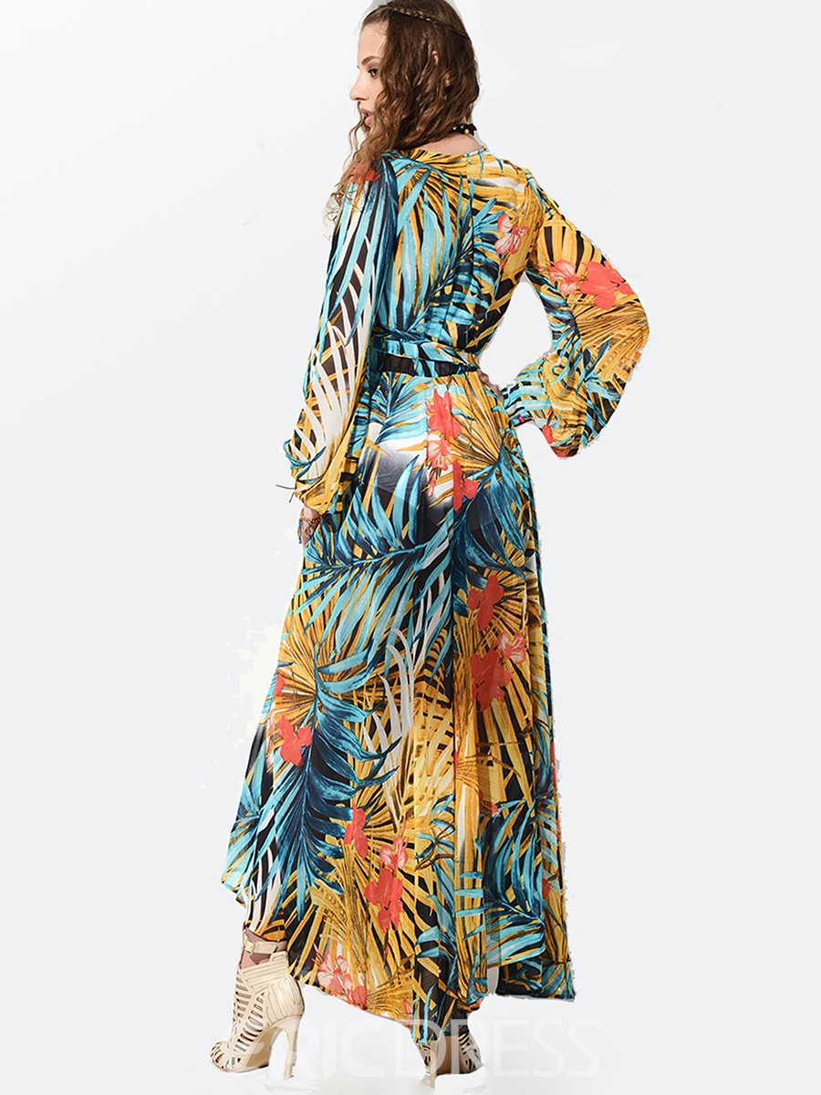 Ericdress V-Neck Long Sleeve Floral Maxi Dress