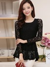 Ericdress Solid Color Lace Slim Blouse