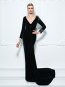 Ericdress Sheath V-Neck Long Sleeves Crystal Sweep Train Evening Dress