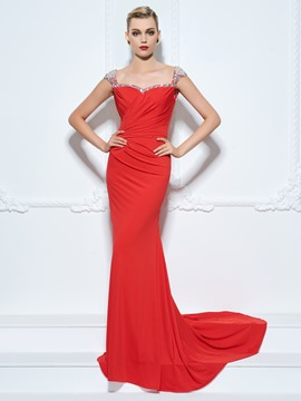 Ericdress Sheath Straps Cap Sleeves Beading Crystal Pleats Court Train Evening Dress