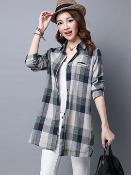 Ericdress Casual Plaid Blouse