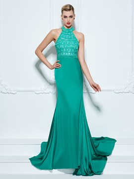 Ericdress Halter Mermaid Hollow Lace Court Train Evening Dress