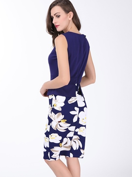 Ericdress Print Patchwork Sleeveless Sheath Dress