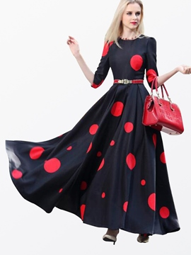 Ericdress Polka Dots Half Sleeve Expansion Maxi Dress
