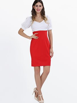 Bleu/rouge v-cou peu Party Dress