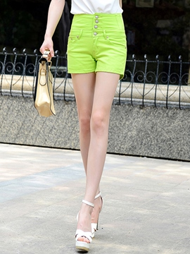 Ericdress Solid Color Single-Breasted Shorts