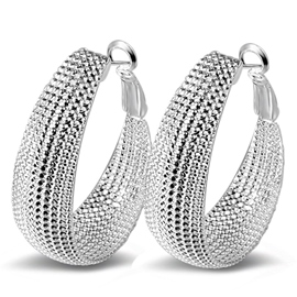 Ericdress Silver Plated Hoop Earrings