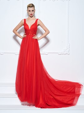 Ericdress A-Line Straps Beading Ruched Court Train Evening Dress