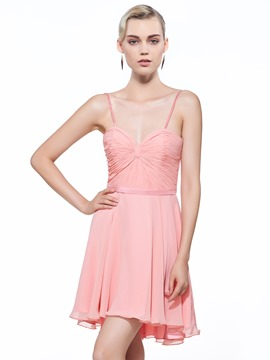 Ericdress Spaghetti Straps A-Line Pleats Short Homecoming Dress