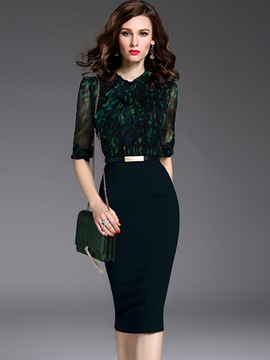 Ericdress Formal Patchwork Half Sleeve Sheath Dress