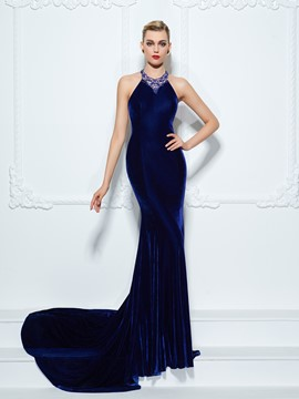 Ericdress Halter Trumpet Beading Court Train Evening Dress