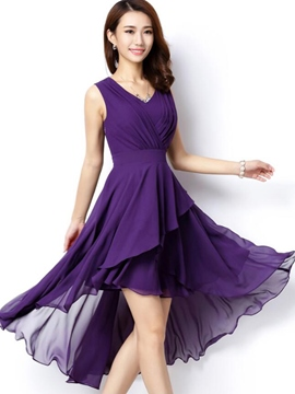 Ericdress Solid Color Pleated Asymmetric A Line Dress