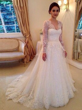Ericdress Beautiful V Neck A Line Long Sleeves Wedding Dress