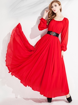 Ericdress Solid Color Long Sleeve Expansion Maxi Dress