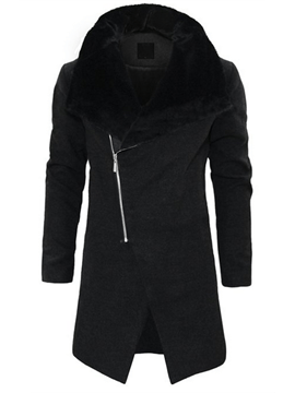Ericdress Fur Collar Oblique Zip Slim Men's Wool Coat
