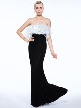 Ericdress Sheath Strapless Lace Ruffles Floor-Length Evening Dress