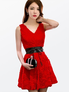 Ericdress Red V-Neck Backless Date Night A-Line Dress