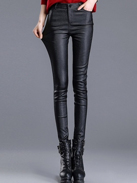 Ericdress Simple Faux Leather Leggings Pants
