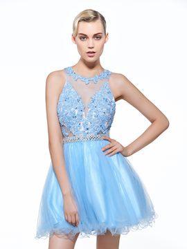 Ericdress A-Line Scoop Appliques Beaded Mini Homecoming Dress