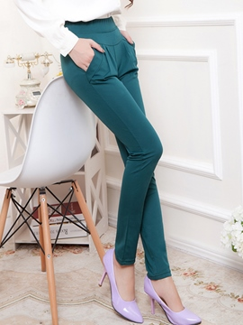 Ericdress Solid Color Pleated Casual Pants