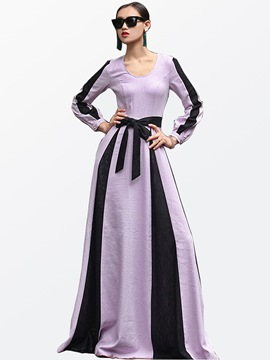 Ericdress European Color Block Floor-Length Maxi Dress