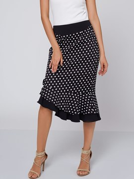 Ericdress Asymmetric Polka Dots Bowknot Fishtail Skirt