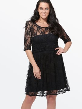 Ericdress Plus taille dentelle Half Sleeve Dress