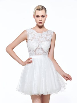 Ericdress A-Line Round Neck Lace Mini Homecoming Dress