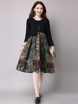 Ericdress Ethic Print Patchwork Long Sleeve Casual Dress