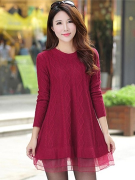 Ericdress Knit Mesh Patchwork Sweater Dress