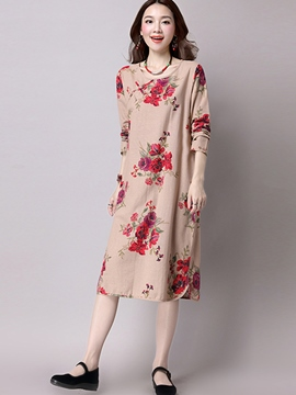 Ericdress Round Neck Long Sleeve Flower Print Casual Dress