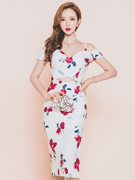 Ericdress Print Hollow Spaghetti Strap Sheath Dress
