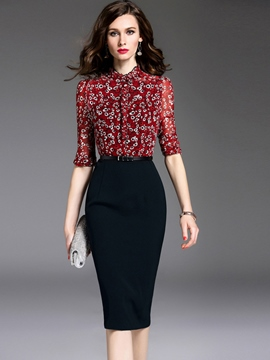 Ericdress Print Patchwork Half Sleeve Sheath Dress
