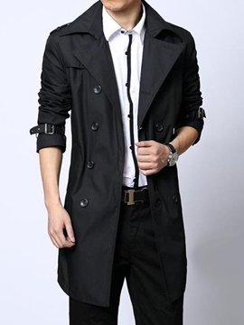 Ericdress Double-Breasted with Belt Slim Men's Trench Coat