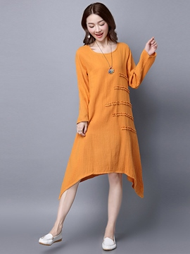 Ericdress Ethic Soild Color Long Sleeve Asymmetric Casual Dress
